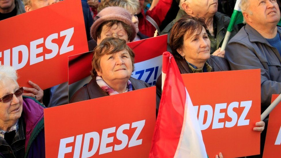 Supporters of Hungarian PM Viktor Orban at a rally
