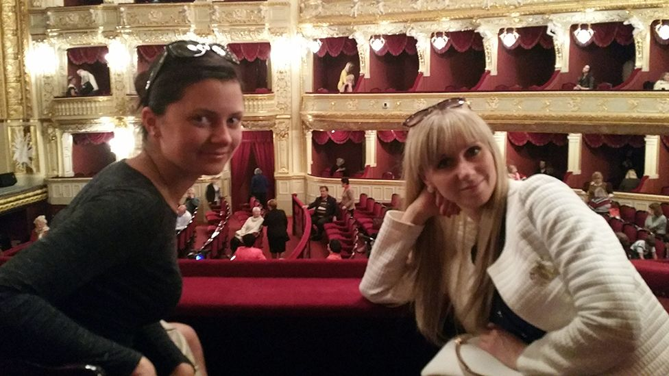Julia and Irina on a night out with James at the opera