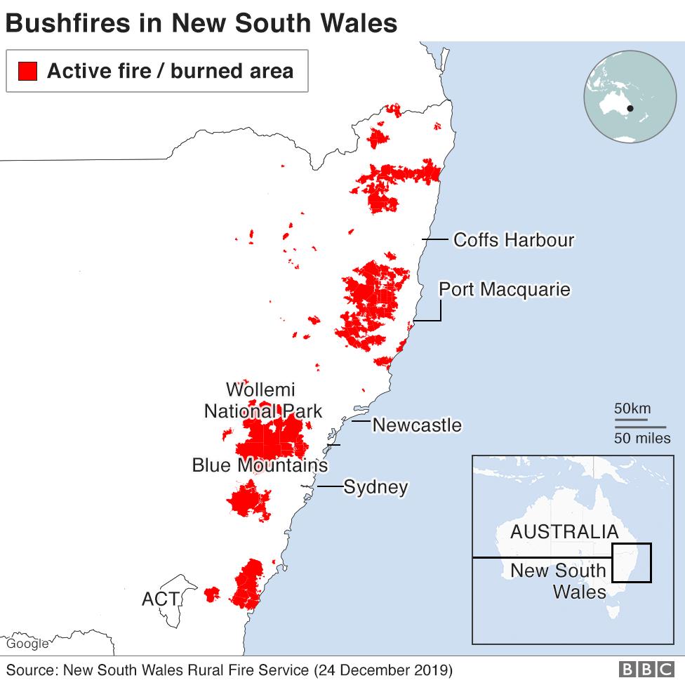 Map: Active fires, 24 December