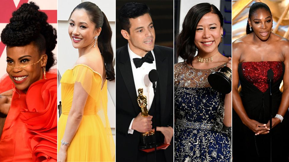 Left to right: Hannah Beachler. Constance Wu, Rami Malek, Domee Shi and Serena Williams