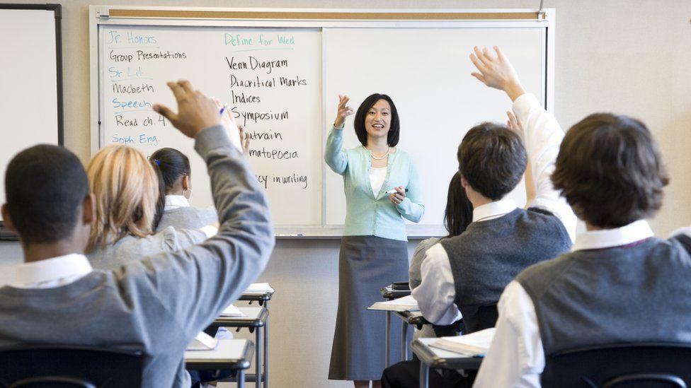 Teacher in front of a class