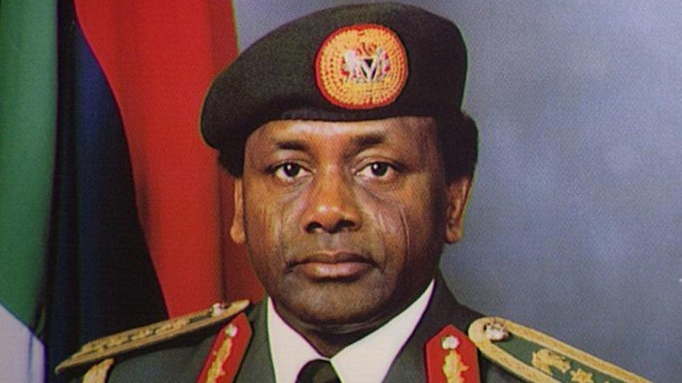 A portrait of Sani Abacha in military outfit