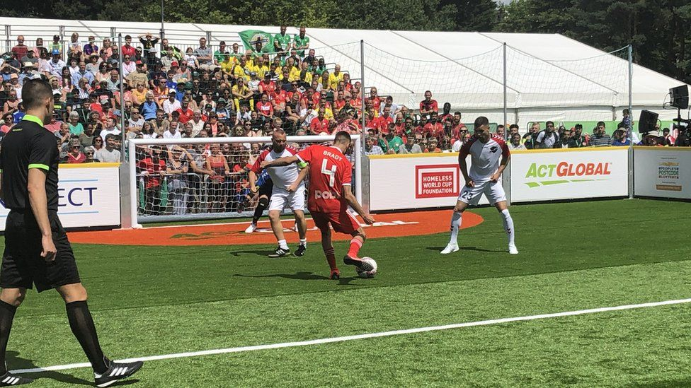 A football match in the Homeless World Cup