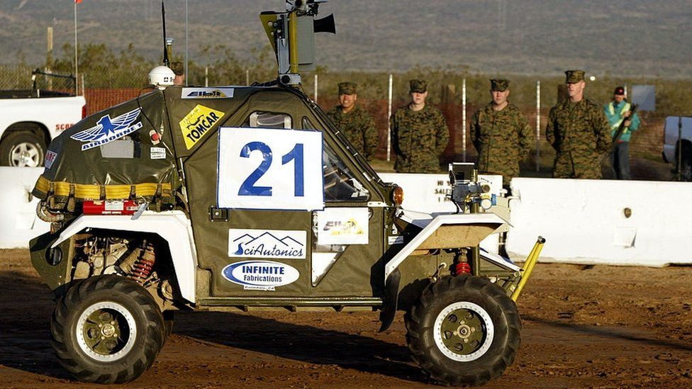 DARPA (Defense Advanced Research Projects Agency) Challenge on March 13, 2004 near Barstow, California.