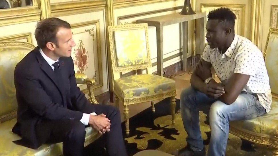 Mamoudou Gassama meets Emmanuel Macron