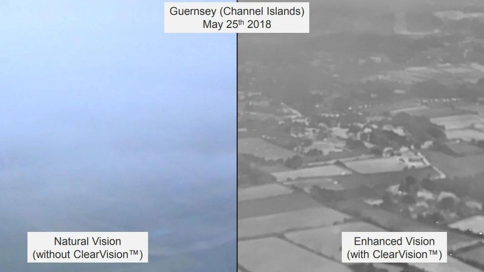 A comparison of what a pilot see in foggy conditions (left) and using the ClearView technology (right)
