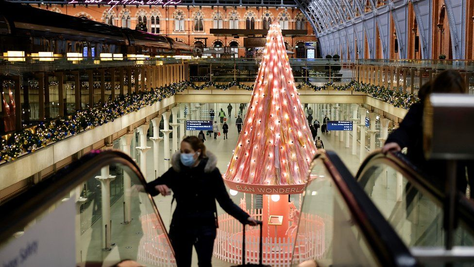 Christmas decorations at London's St Pancras International train station, November 2020