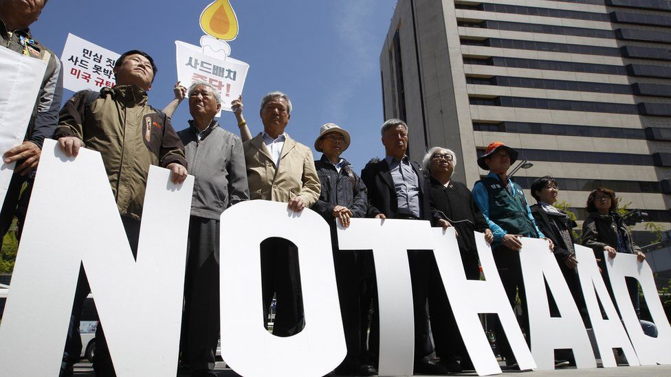 South Koreans protest against US defence policy
