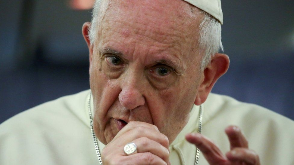 Pope gives a news conference on board a plane on way back from Chile on Jan 22