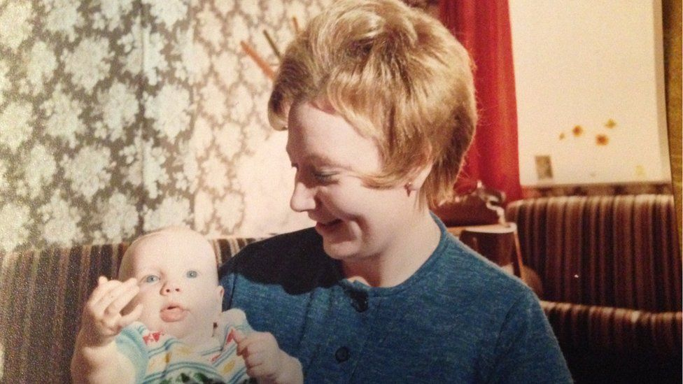 Andy Savage as a baby with mum Diane