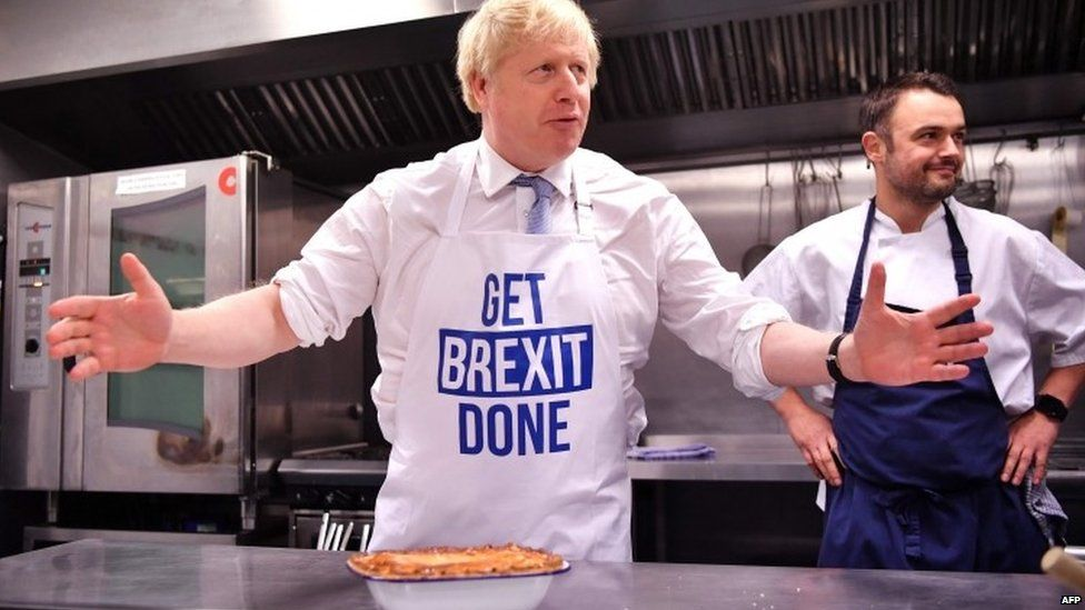 Boris Johnson at a bakery in Derby