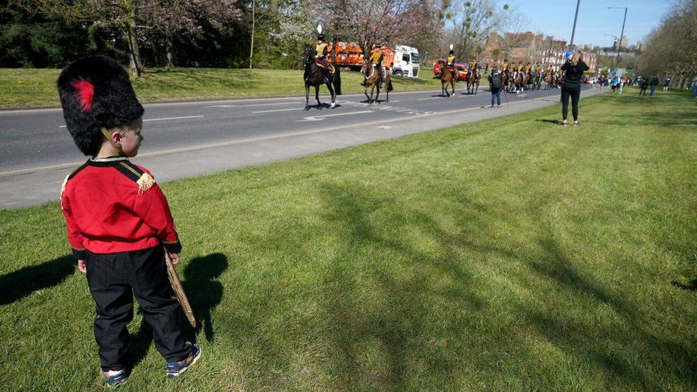 The King's Troop Royal Horse Artillery arrive at Windsor Castle for the funeral of Prince Philip, The Duke of Edinburgh on April 17, 2021 in Windsor, England.