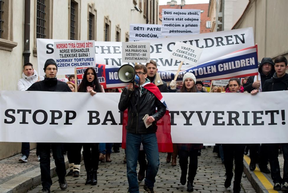 Protesters in Prague, Czech Republic protest against Norwegian child welfare service Barnevernet, January 16, 2016