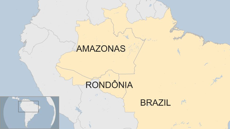 A map showing where Rondonia is in Brazil