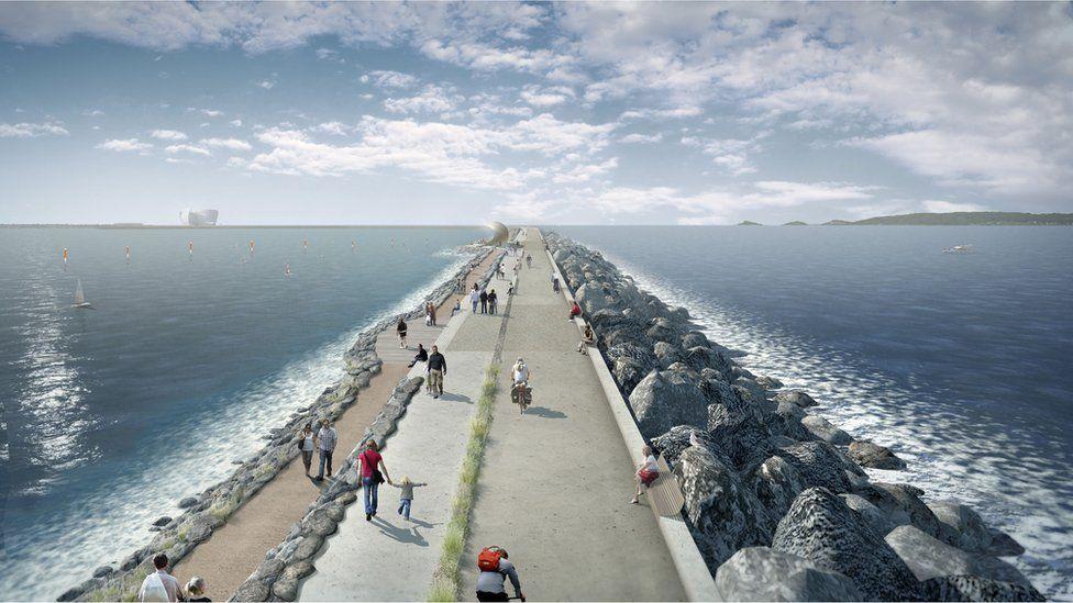 Swansea lagoon seawall