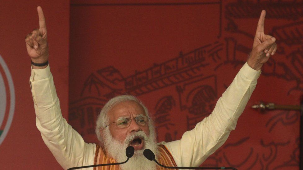 Prime Minister Narendra Modi addresses a public rally for West Bengal Assembly Election at Barasat on April 12, 2021 in North 24 Parganas, India