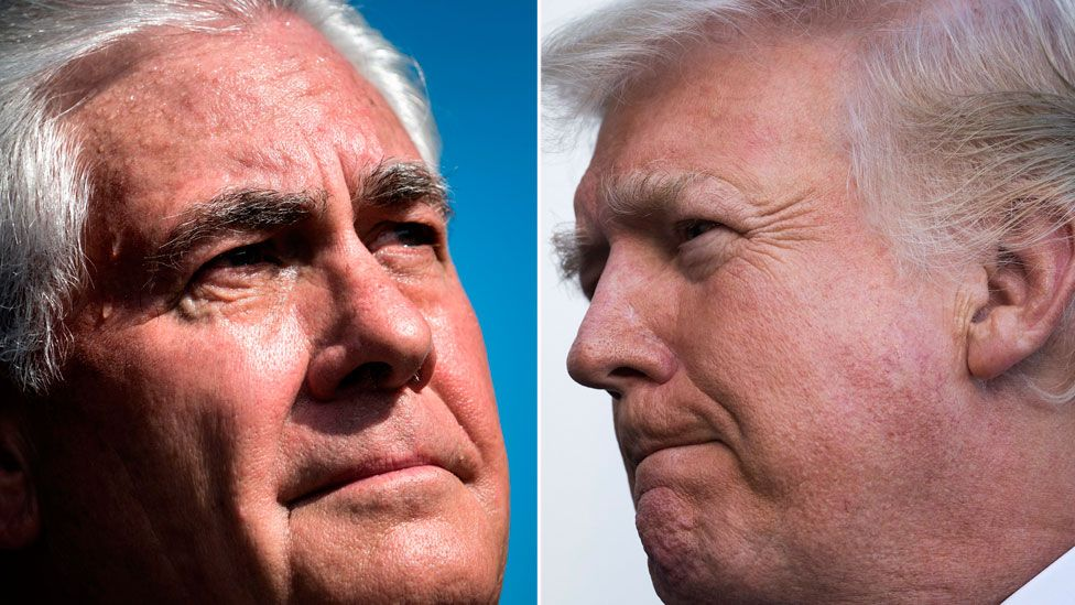 President Donald Trump (R) and Secretary of State Rex Tillerson