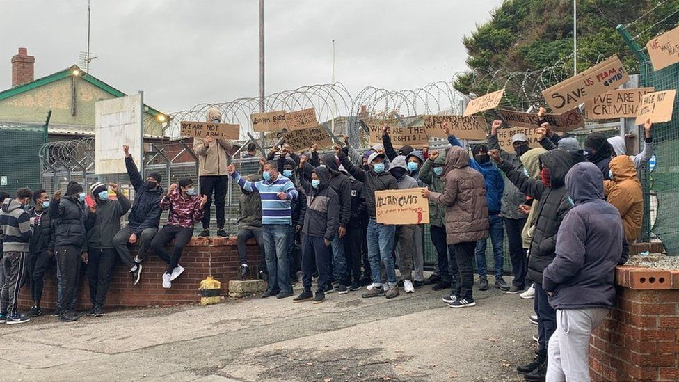 Asylum seekers protesting about conditions at Penally camp