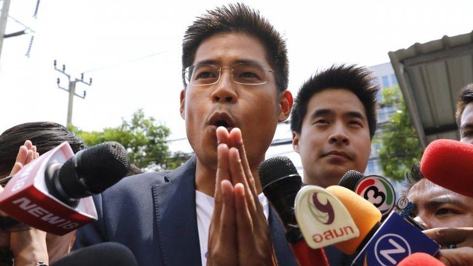 Thai Raksa Chart's leader Preechaphol Pongpanit speaking to media