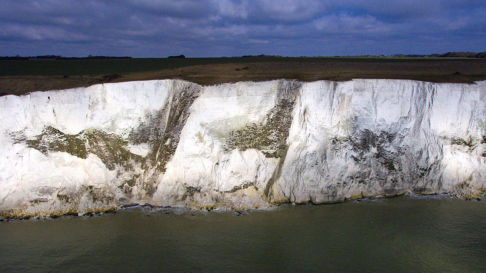 An aerial view of the white cliffs of Dover on March 7, 2016