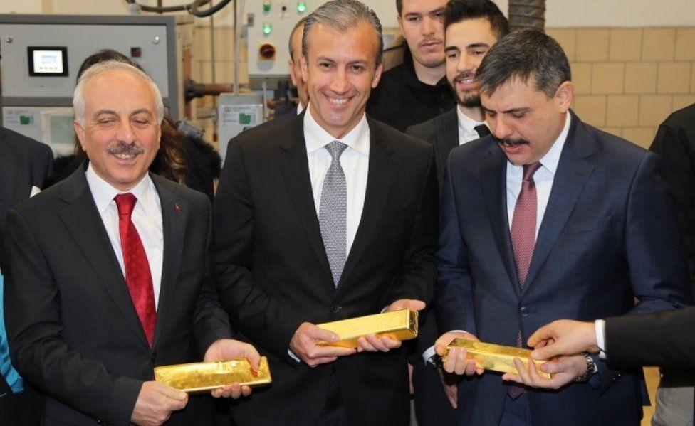 Venezuelan Vice President El Aissami (C) with Corum local officials at Ahlatci Group refinery, 16 Jan 19