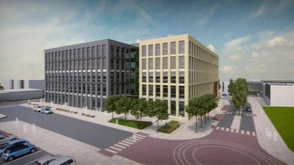 Artist impression of new council building in Ashington