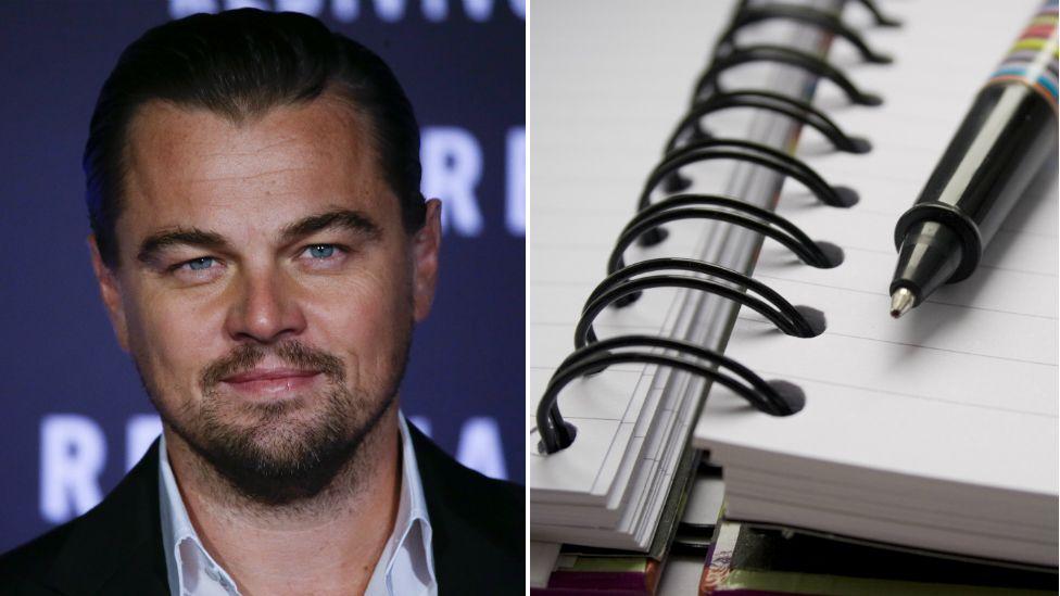 Leonardo Dicaprio and a pen and notebook
