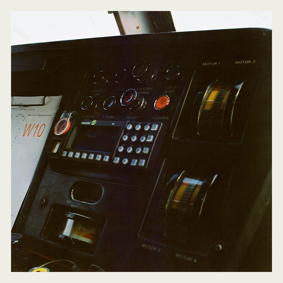 Inside the cab of a Class 90 locomotive