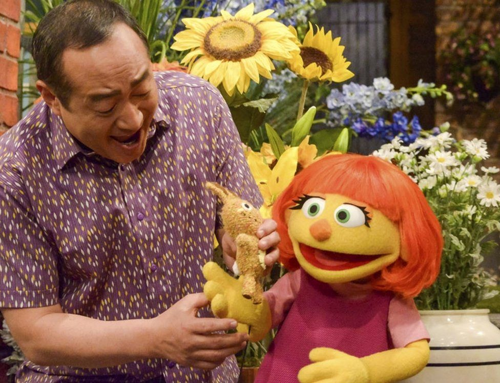 """This image released by Sesame Workshop shows Julia, a new autistic muppet character debuting on the 47th Season of """"Sesame Street,"""" on April 10, 2017, on both PBS and HBO."""