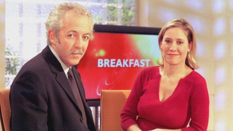 Jeremy Bowen and Sophie Raworth on BBC Breakfast in 2000