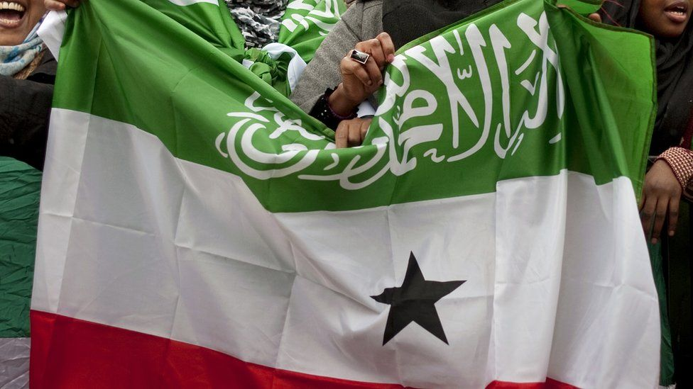 British-based Somalilanders wave the flag of the internationally unrecognised self-declared republic of Somaliland as they hold a pro-independence rally outside Downing street in London on 22 February 2012.