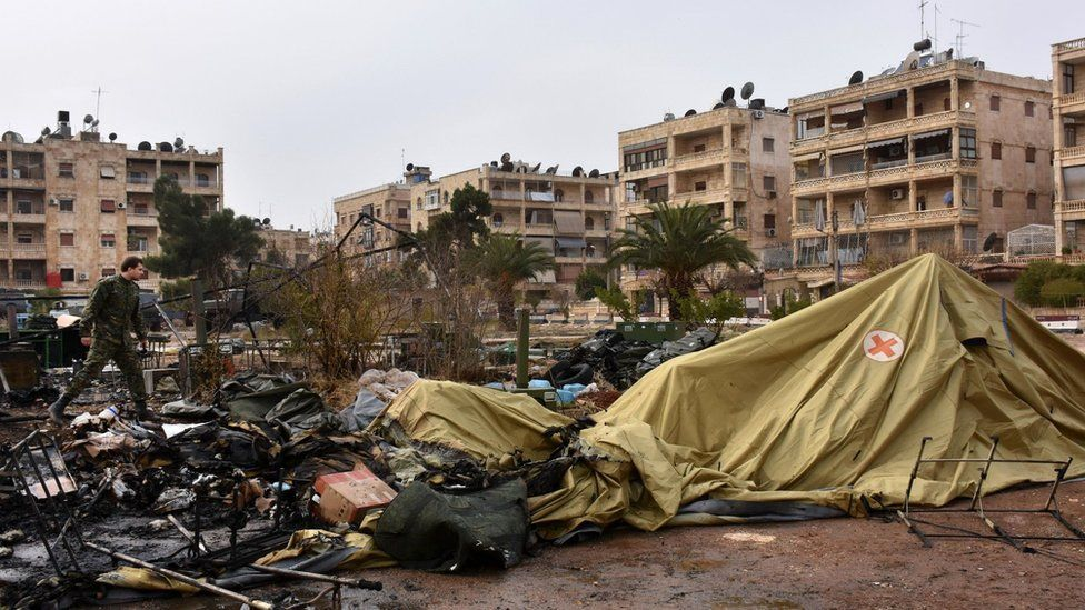Field hospital which Russia says was destroyed by a rebel attack