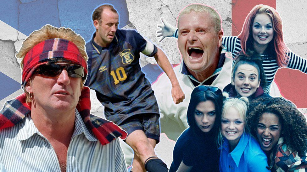 Rod Stewart, Gary McAllister, Paul Gascoigne and The Spice Girls - composite
