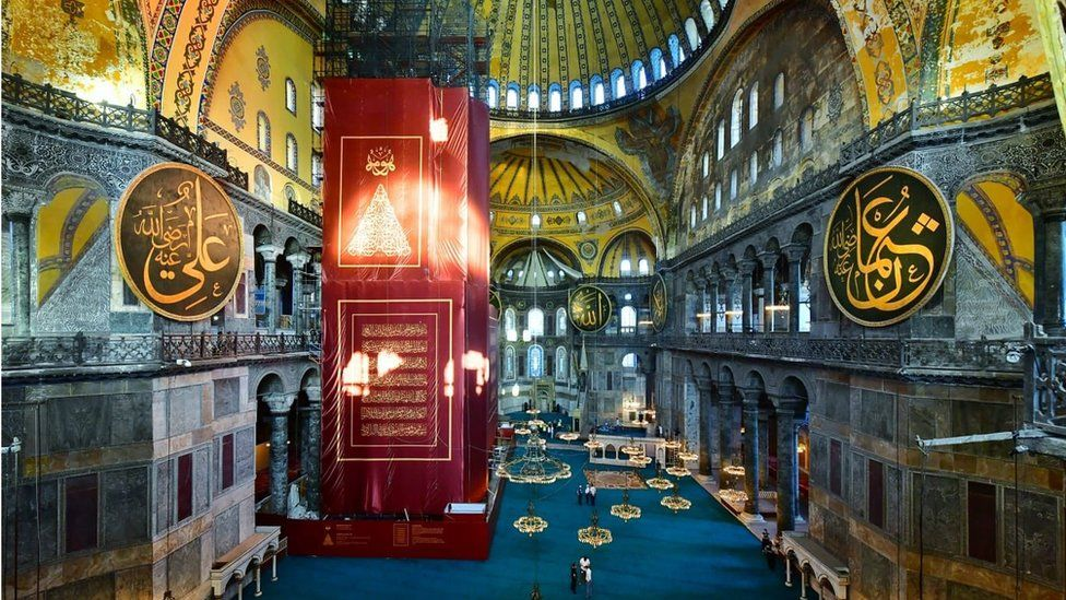 This image of the interior of the Hagia Sophia was posted on Twitter early on Friday by the governor of Istanbul