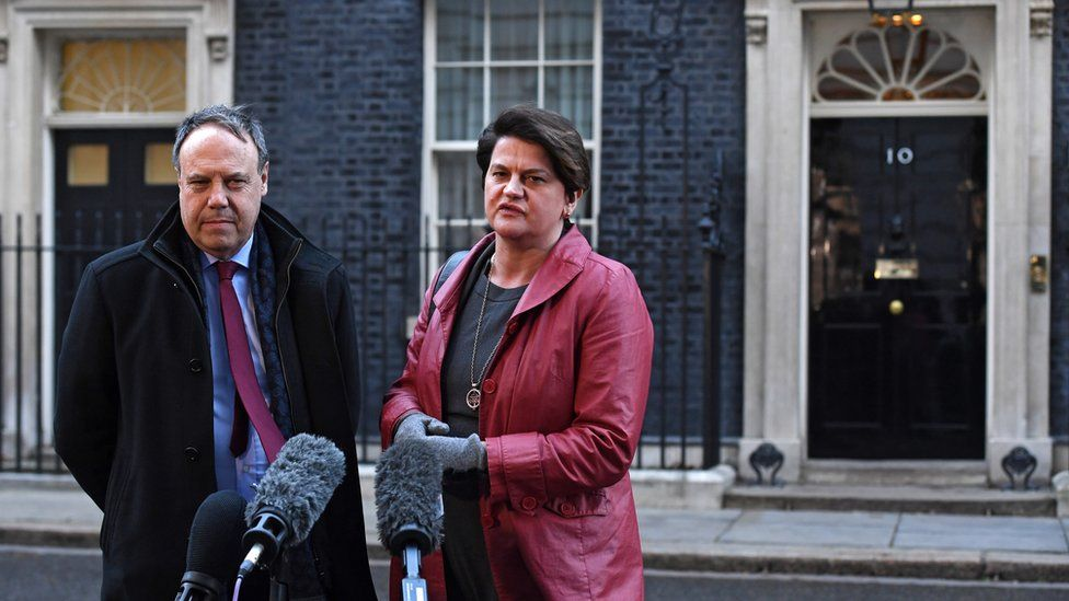 Nigel Dodds and Arlene Foster at Downing Street
