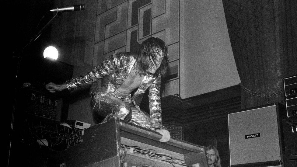 Keith Emerson pictured at ELP's first gig, at Plymouth Guildhall in August 1970