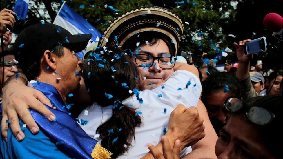 Opposition leader Yubrank Suazo, who according to local media was arrested for participating in a protest against Nicaraguan President Daniel Ortega's government, is greeted by neighbours after being released from La Modelo Prison, in Masaya, Nicaragua June 11, 2019