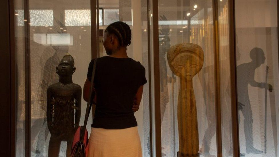 Visitors are seen in one of the exhibition rooms of the brand new National museum of the Democratic Republic of Congo in Kinshas