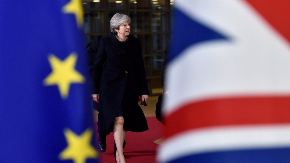 UK Prime Minister Theresa May arrives for the EU summit in Brussels, Belgium on 14 December 2017.