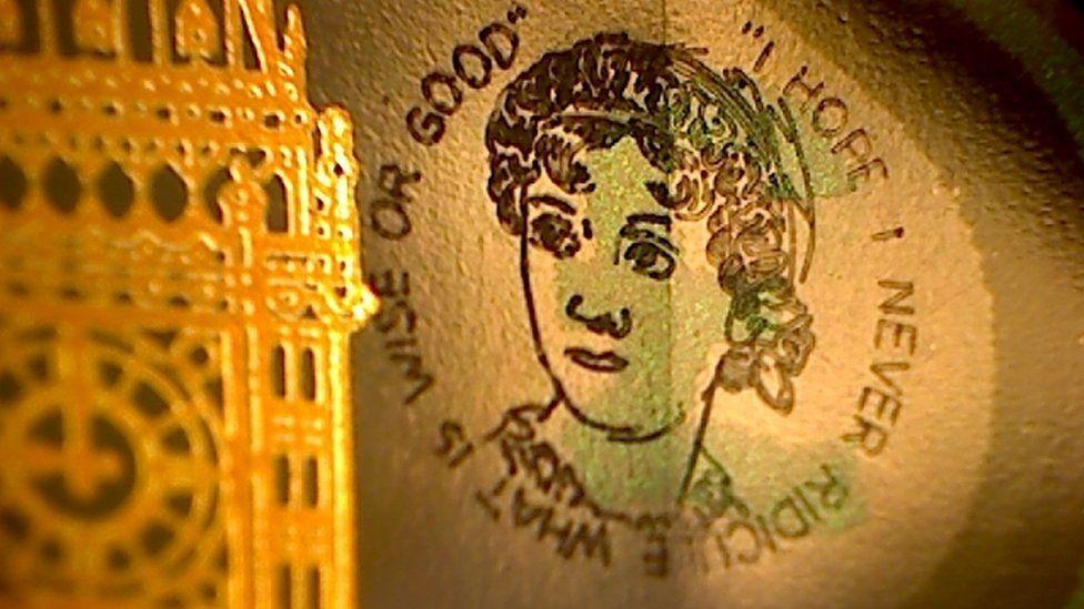 Close-up of tiny Jane Austen image