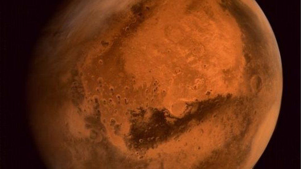 A close up of a storm brewing on Mars