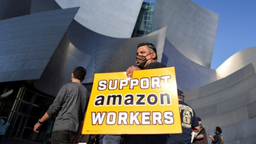 Protest in support of the unionizing efforts of the Alabama Amazon workers, in Los Angeles
