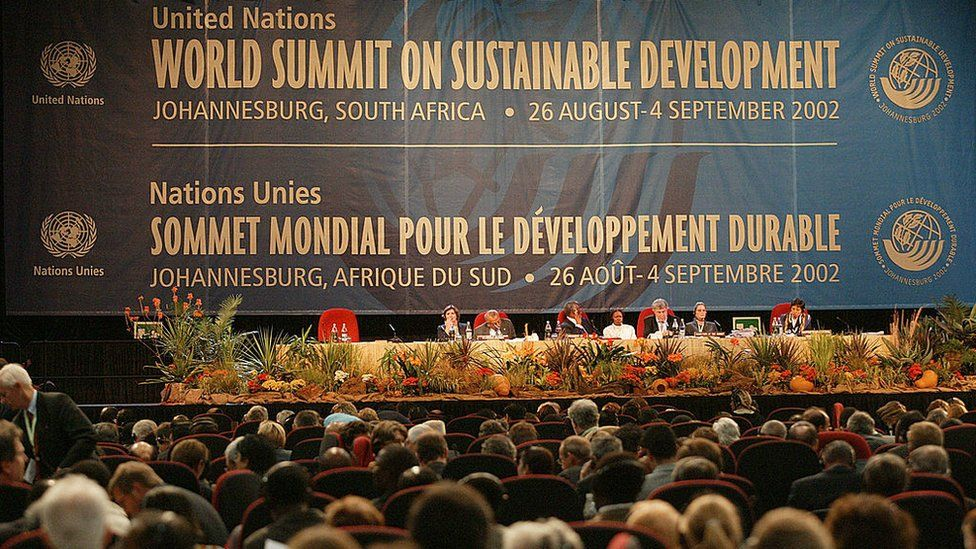 The delegates at the World Summit on Sustainable Development in Johannesburg in 2002