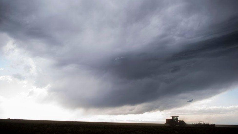 Fifth generation wheat farmer Senator Jon Tester (D-MT) cultivates on his 1800 acre farm land in Big Sandy, Montana Thursday April 13, 2017.