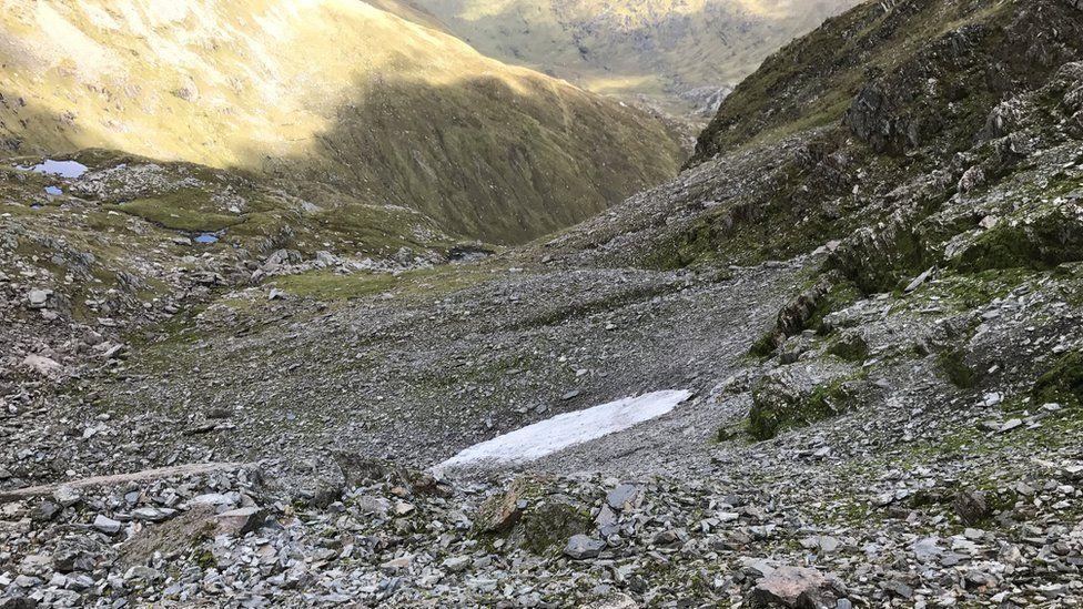 Snow patch at Aonach Beag