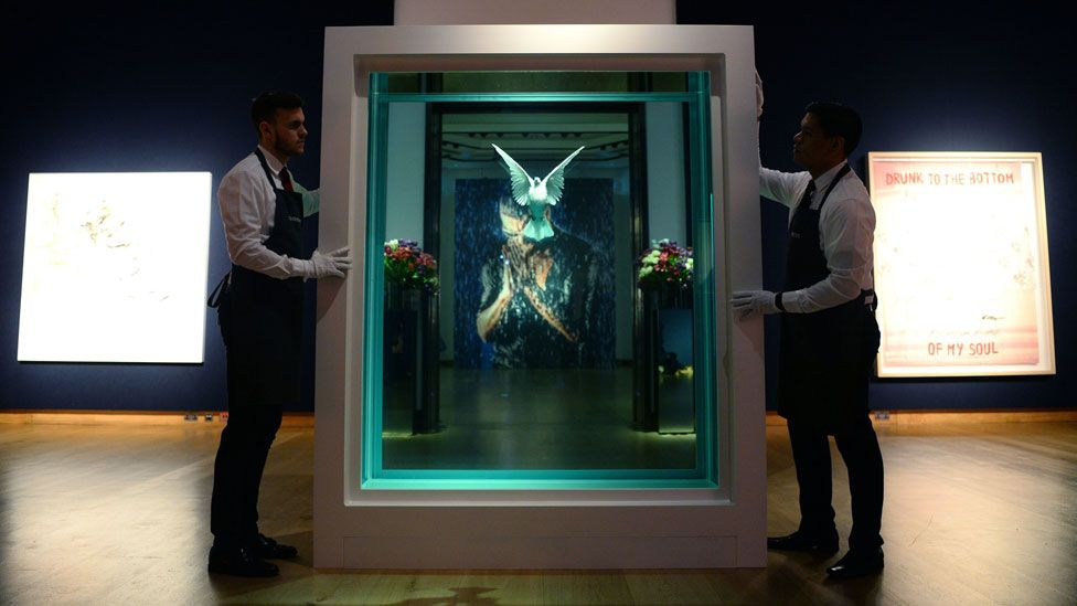 The Incomplete Truth by Damien Hirst alongside other works from George Michael's collection