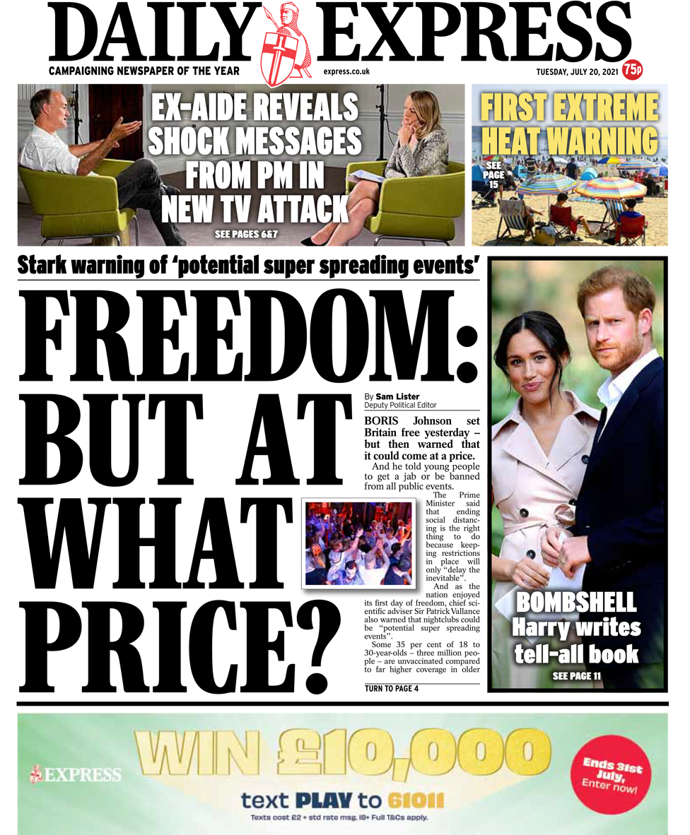 Daily Express front page 20/07/21