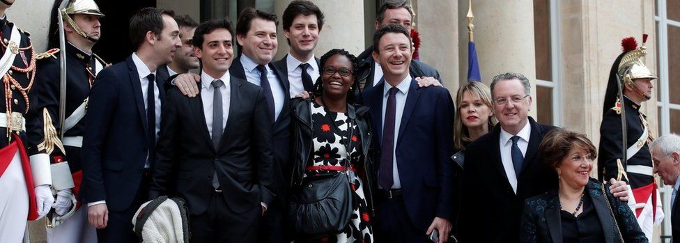 The Macron team: Sibeth Ndiaye (C), Head of the public relations of the party, spokesman Benjamin Griveaux (C-R), Richard Ferrand, Julien Denormandie (4thL), Stephane Sejourne (2thL), Jean-Marie Girier (L), Sylvain Fort (3rdL)