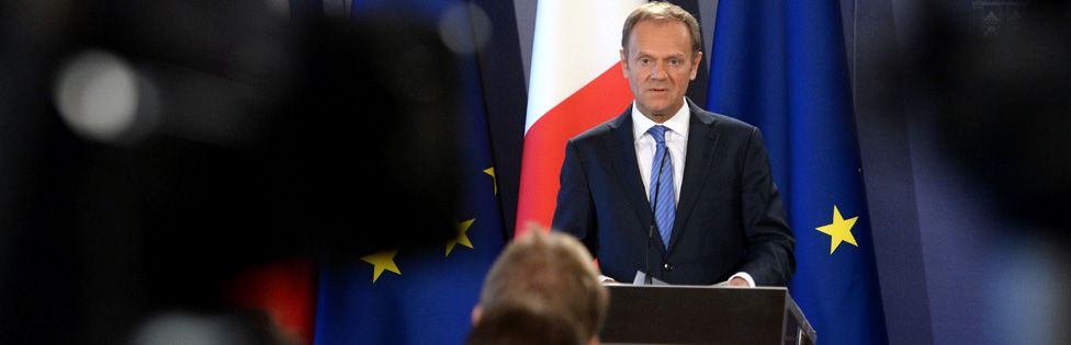 Donald Tusk at a press conference to discuss the draft guidelines on Brexit negotiations