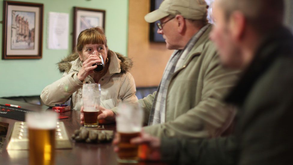 Drinkers in a Govan pub